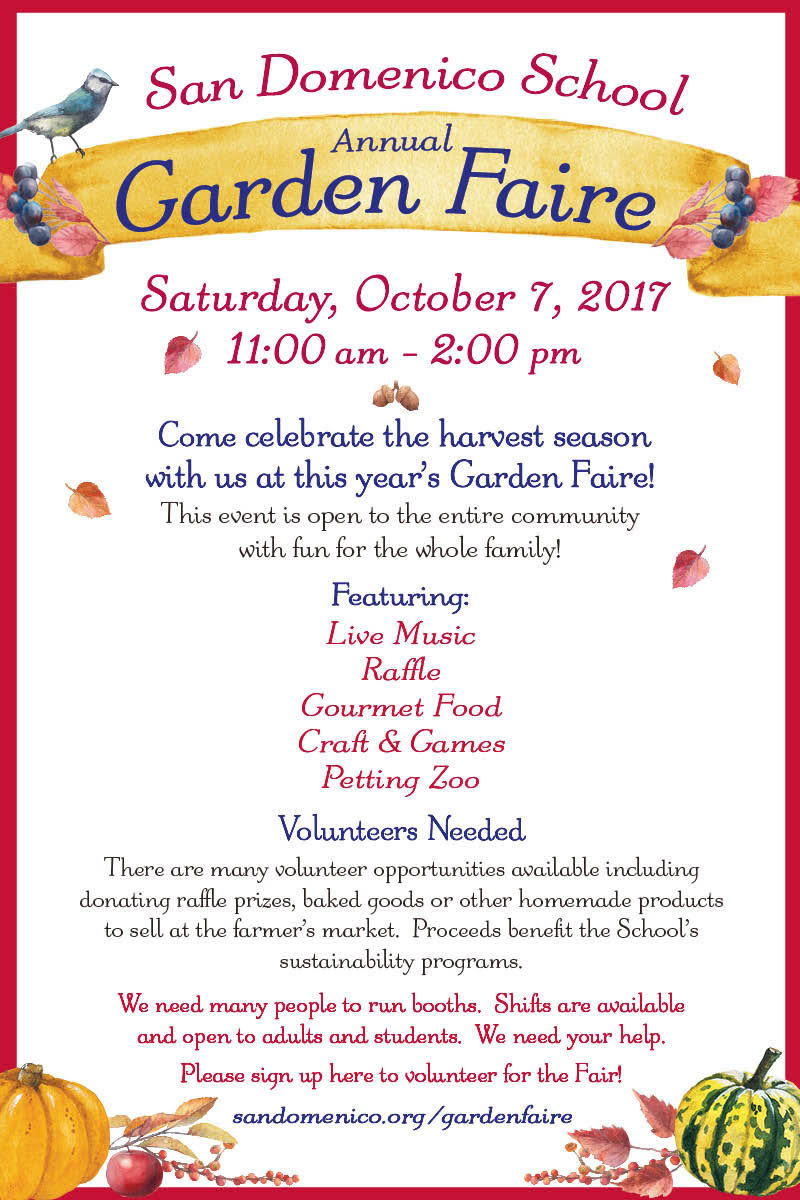 Annual Garden Faire is October 7, 2017