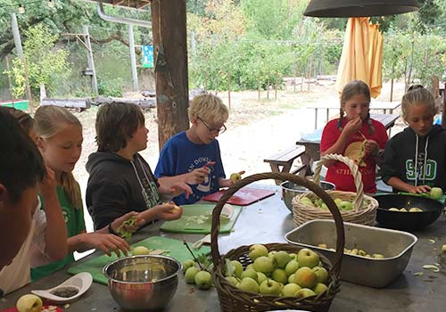 Students in the Outdoor Classroom and Kitchen