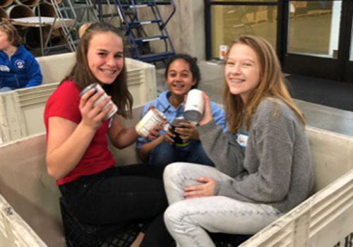 Middle School Students at the Food Bank