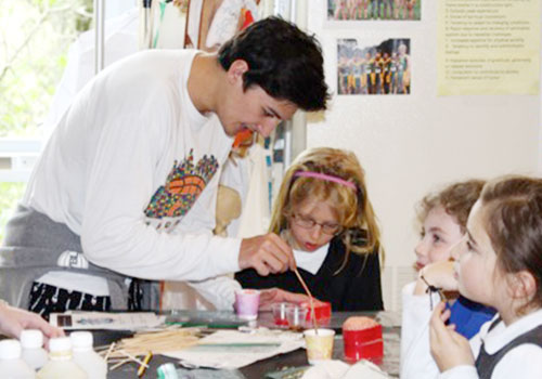 Upper School Students Teach Second Graders Science Lesson About the Heart