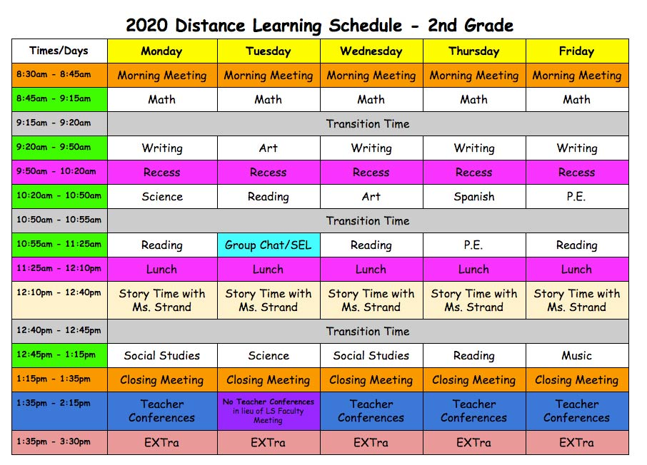 Distance Learning Schedule - Second Grade