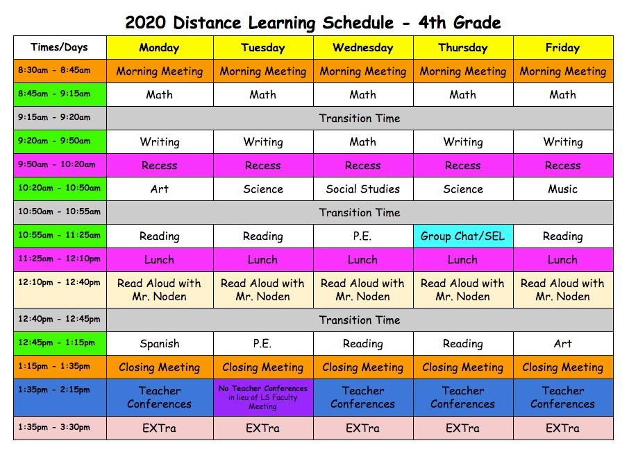 Distance Learning Schedule - Fourth Grade