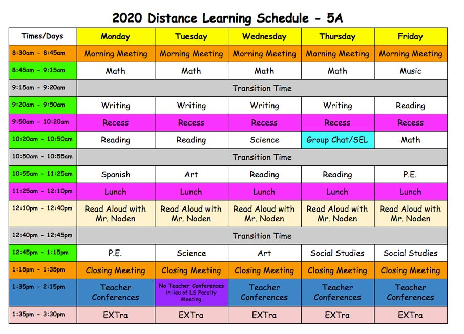 Distance Learning Schedule - Fifth Grade A