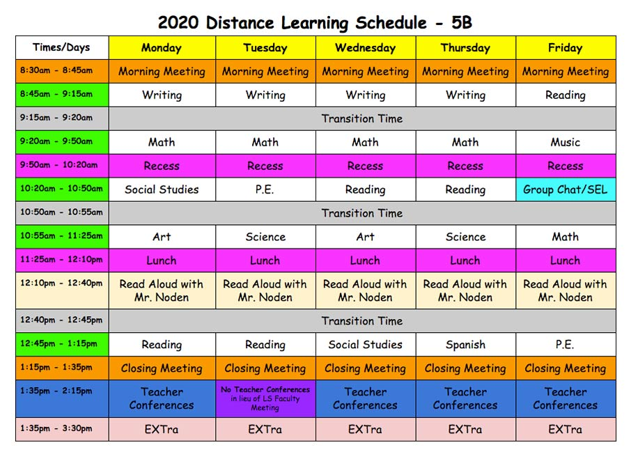 Distance Learning Schedule - Fifth Grade B