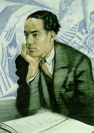 art deco painting of Langston Hughes sitting before a table with a manuscript and his chin on his right hand