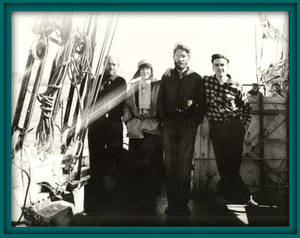 Photo of Louise Arner Boyd and Crew aboard the Effie M. Morrisey during World War II
