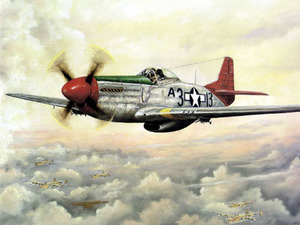Painting of a P-51 Red Tail fighter plane