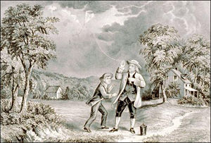 Ben Franklin flying his kite