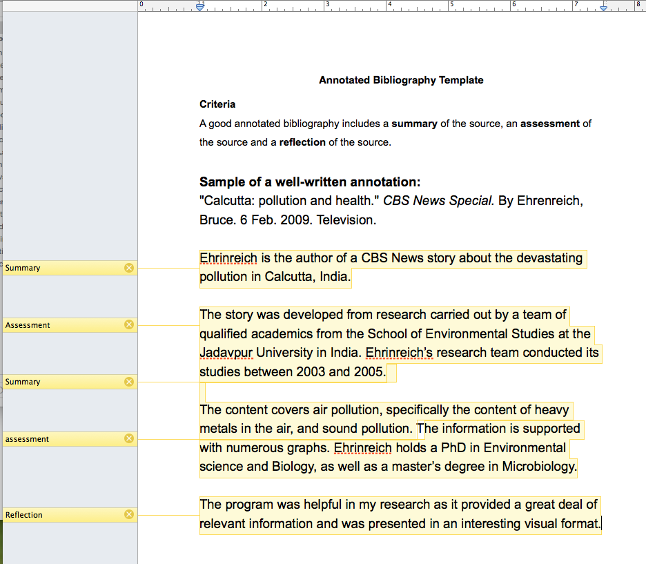 annotated bibliography template microsoft