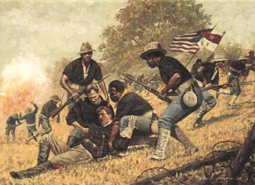 Painting of black and white American soldiers fighting on San Juan Hill