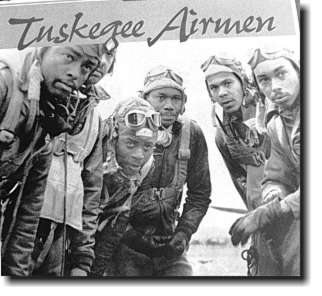 Photograph of six Tuskegee Airmen in their flight uniforms