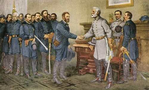 Painting of Grant & Lee shaking hands at the Appomatox Courthouse