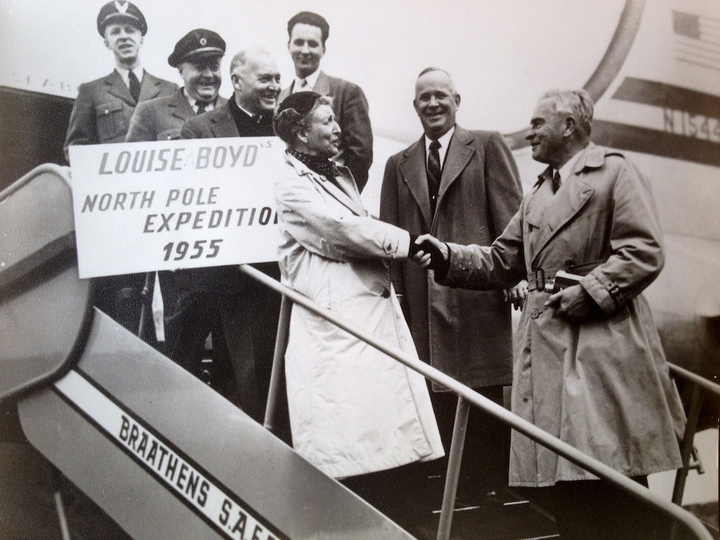 Louise after flying over the North Pole with chartered crew, 1955