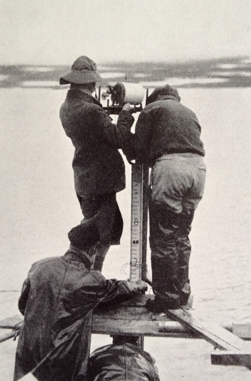 Louise setting up her camera, Greenland 1933