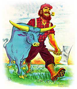 drawing of Paul Bunyan and his ox 'Blue'