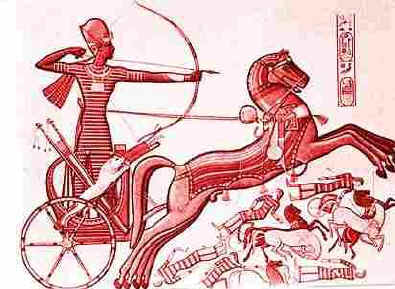Ancient wall painting of an Egyptian charioteer shooting an arrow