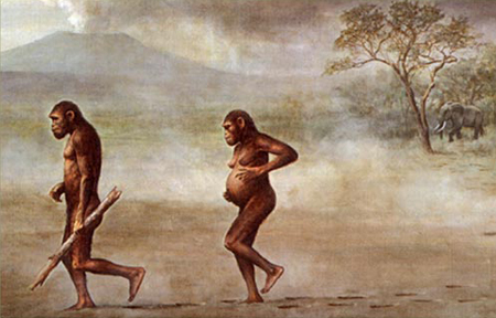 Painting of two early hominids walking