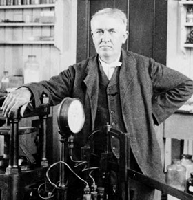 Portrait of Thomas Edison in his workshop