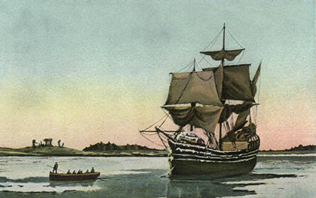 Painting of the Mayflower at anchor