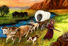 Painting of pioneers and wagon on the Oregon Trail