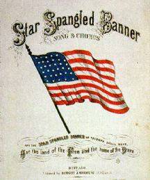 Song book with the Star Spangled Banner Flag